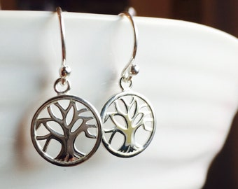 All Sterling Silver Tree of Life  Dainty Earrings, sterling , minimalist jewelry, nature inspired jewelry, nature.