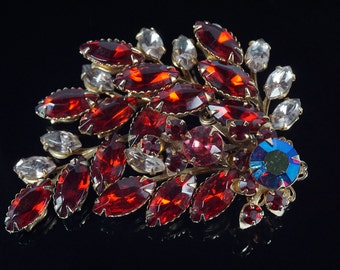 Red Rhinestone Pin, Juliana Pin, Rhinestone Spray Pin, Vintage Juliana Delizza Elster D&E Style Ruby Red Prong Set Rhinestone Brooch Pin