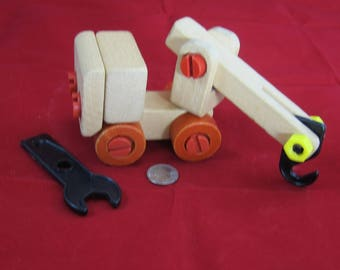 Adorable Wooden Tow Truck with Tool