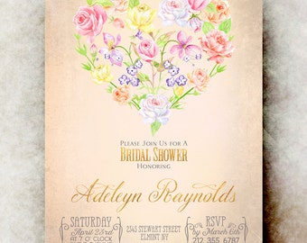 Watercolor bridal shower Invitation printable - pink gold bridal shower invitation, floral bridal shower invitation, bridal shower invites