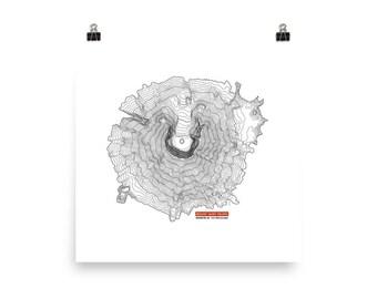 Mount Saint Helens Print | Mountain Art | Mountain Decor | Mountain Print | Topography Art | Modern Print | Washington Art