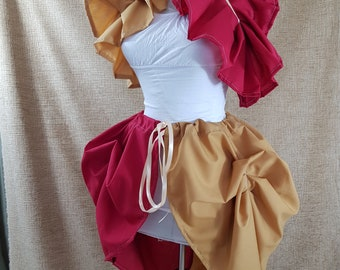 Witch Wizard Red And Gold Knee Length Tie On Bustle Skirt-One Size Fits All