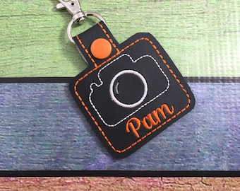 Personalized Camera Tag - customized name Keyfob - embroidered keychain - gifts under 20 -backpack tag