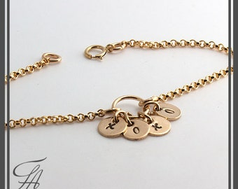 Gold Initial Bracelet, 4 Charm Bracelet, Minimalist Jewelry, Stackable Bracelet, Dainty Bracelet, Gold Jewelry, Layered Handmade Bracelet