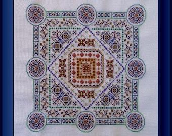 Mandala Cross Stitch Instant Download Pattern Silk Road Alara! Counted Embroidery Chart. Ornamental Geometric Decorative Beaded X Stitch