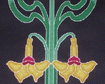 KL36 Art Nouveau Flower Tile 2  Cross Stitch Kit designed by Goldleaf Needlework