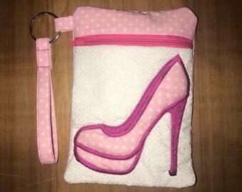 High Heel zippered wristlet pouch
