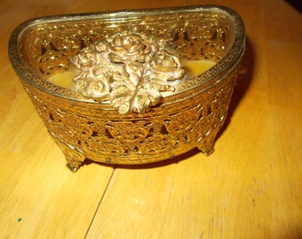 Matson gold gilt filigree vanity jewelry casket  circa 1930's