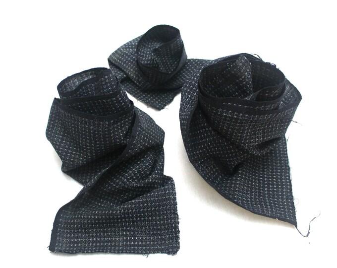 SCRAPS Hand Loomed Antique Cotton. Japanese Kasuri Kagasuri Ikat. Dark Indigo Blue Black. (Ref: 1589D/E/F)