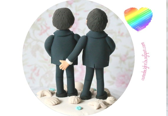 Funny Gay Wedding Cake Toppers Grabbing But Grooms Wedding