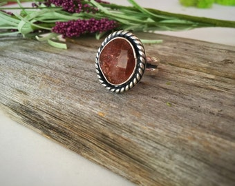 Sunstone Ring, Sunstone Sterling Silver Ring, Sun Stone, Handmade, Natural Stone, Orange Gem, Sunstone Jewelry, Joy Stone, Faceted Sunstone