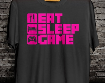 Eat Sleep Game T-Shirt Neon Pink(ADULT & YOUTH SIZES)
