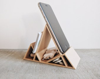 Wooden Minimalist Geometric Stand / Dock for iPhone 6 6S 6Plus 7 7Plus Smartphone Business Cards Office Organizer
