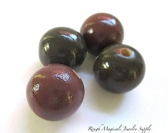Large Wooden Beads, Brown Wood 18mm Round Ball Beads, Plum Brown Finished Wood, DIY Jewelry Making Supplies, Craft Beads - 4 Pieces SP738
