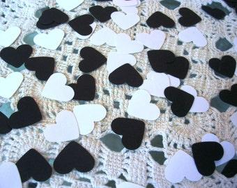 Herz-Konfetti - schwarz weiße Kraft Hochzeit Gefälligkeiten - Foto Requisiten - Party Konfetti - Tischdeko - 200 Graf