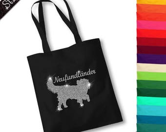Bag with rhinestone design Newfoundland dog M1