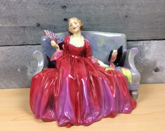 """Royal Doulton Figurine """"Sweet and Twenty"""" Lady with Fan Sitting on Couch"""