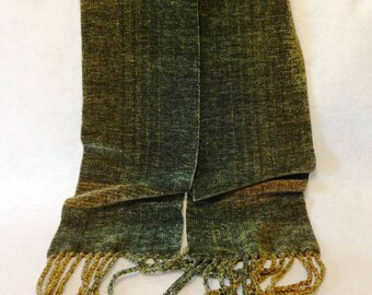 Handwoven Chenille Scarf, Sage Green Scarf, Chenille Scarf, Woven Scarf, Handwoven Scarf, Handwoven Chenille Scarf, Woven Scarf (#17-15A)