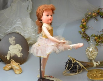 """Vintage Valentine Ballerina Doll 18"""" in Original Clothes Mid Century Fashion Plastic Doll Collectible Toy 1950's Ballerina Dressed Doll"""