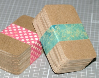 "50 Chipboard Business Card Blanks ... Heavyweight DIY Biz Cards Rounded Corners Kraft Recycled Seller Supplies 2"" x 3.5"" Thick Cards"
