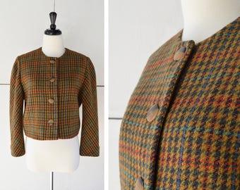 70s MEDIUM womens cropped plaid tweed blazer   vintage womens blazer   1970s womens clothing