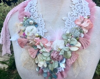 Floral statement necklace, Embroidered gypsy necklace, embroidered statement necklace, bohemian wedding necklace, boho wedding jewelry