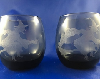 Flying Witch Stemless Wine Glass (Set of 2)