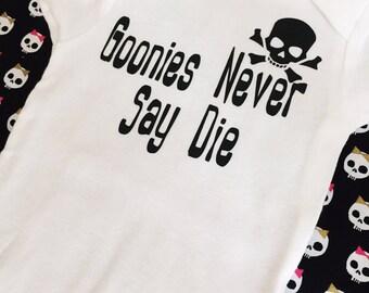 Goonies never say die baby onesie - pirate onesie - 80's movie quotes baby onesie - skulls onesie - goonies movie - funny onesies