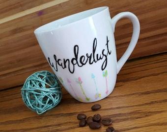 Wanderlust Coffee Mug, Arrow Mug, Hand-painted, 12 oz