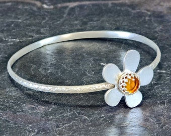 Sterling Silver Flower Bangle with Amber Gemstone for Cocktail Parties Bridesmaids or being Cute and Dainty -BNGL002