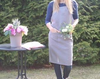 Grey linen Apron, Linen apron