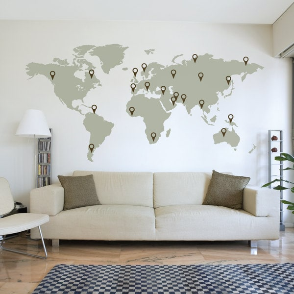 Large world map wall decal sticker 7ft x 347ft vinyl wall zoom gumiabroncs Image collections