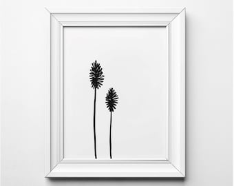 Minimalist Botanical Illustration, Minimalist Wall Art, Modern Art Print, Black and White Plant Art, Printable Art, Modern Art Print