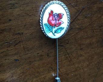 Vintage Sterling Silver Pink Floral Stick Pin