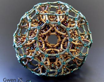 Crater Moon 3 Truncated Icosidodecahedron -- Beaded Math Art Object Sculpture