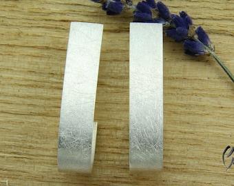 Earrings Silver 925 /-, silver lining, Matt scratched