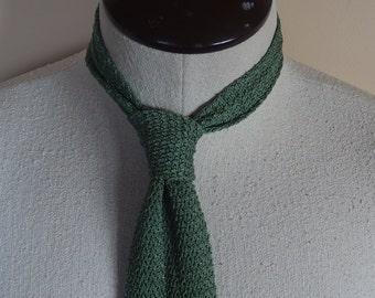 1970s Vintage Sage Green Knit Necktie Square Bottom