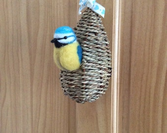 Felted blue tit