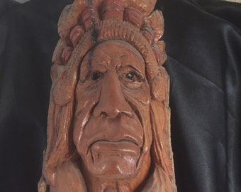 American Indian bark carving sculpture.  Woodcarving, Indian, American Indian, Hand-carved, Cotton wood bark carving