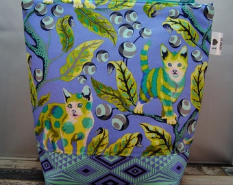Disco Kitty Bag, Large zipper pouch, teal green chartreuse yellow, blue navy, tula pink tabby road, knitting, crochet, cats, kitten, wip bag