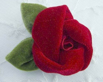 2 pc Valentine RED Velvet Fabric Rose Flower Applique Red Hat Society Corsage