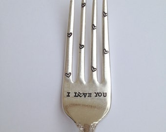 Scattered Hearts - I Love You Fork - Hand Stamped Fork - Serendipity - Vintage Gift -  Every Day Vintage, Valentines Day 2013
