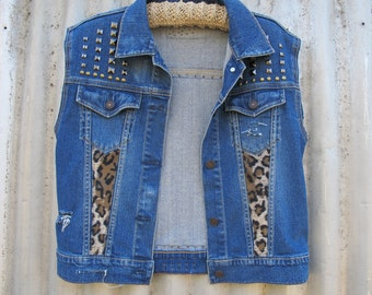 Vintage Blue Denim Stud Faux Fur Distressed Jacket Vest - Ripped Custom