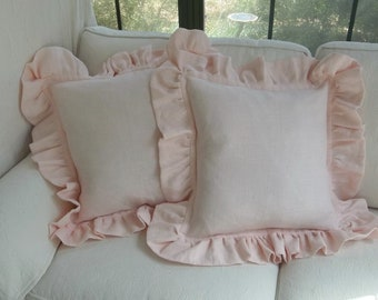 Ruffled Pink Linen Pillows Blush Pink Pillow Shams Custom Sizes Romantic Home Decor More Fabric Choices Available