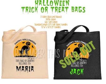 Halloween - Halloween Bag -  Halloween Bag Personalized - Halloween Bag for Kids - Trick or Treat Bag - Trick or Treat Bag Personalized