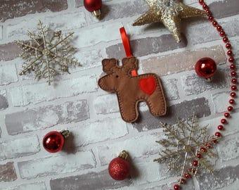Gingerbread reindeer , felt gingerbread Christmas tree decoration