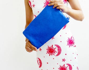 Blue leather clutch purse , Clutch bag , Foldover clutch  , Leather clutch envelope , Convertible clutch , Foldover crossbody
