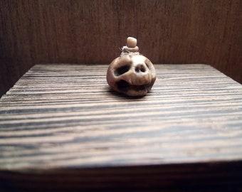 doll house Creepy skull Bottle OOAK
