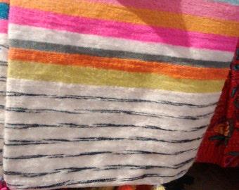 hand loomed 100%wool pom pom blanket, throw, rug