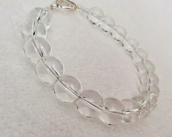Handmade Crystal Quartz bracelet with Sterling Silver Toggle